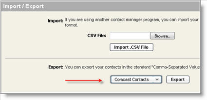 how to export your address book from comcast webmail