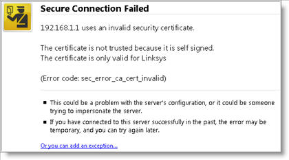 Linksys validating identity error